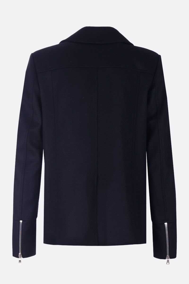 BALMAIN: wool and cashmere blend double-breasted coat Color Blue_2