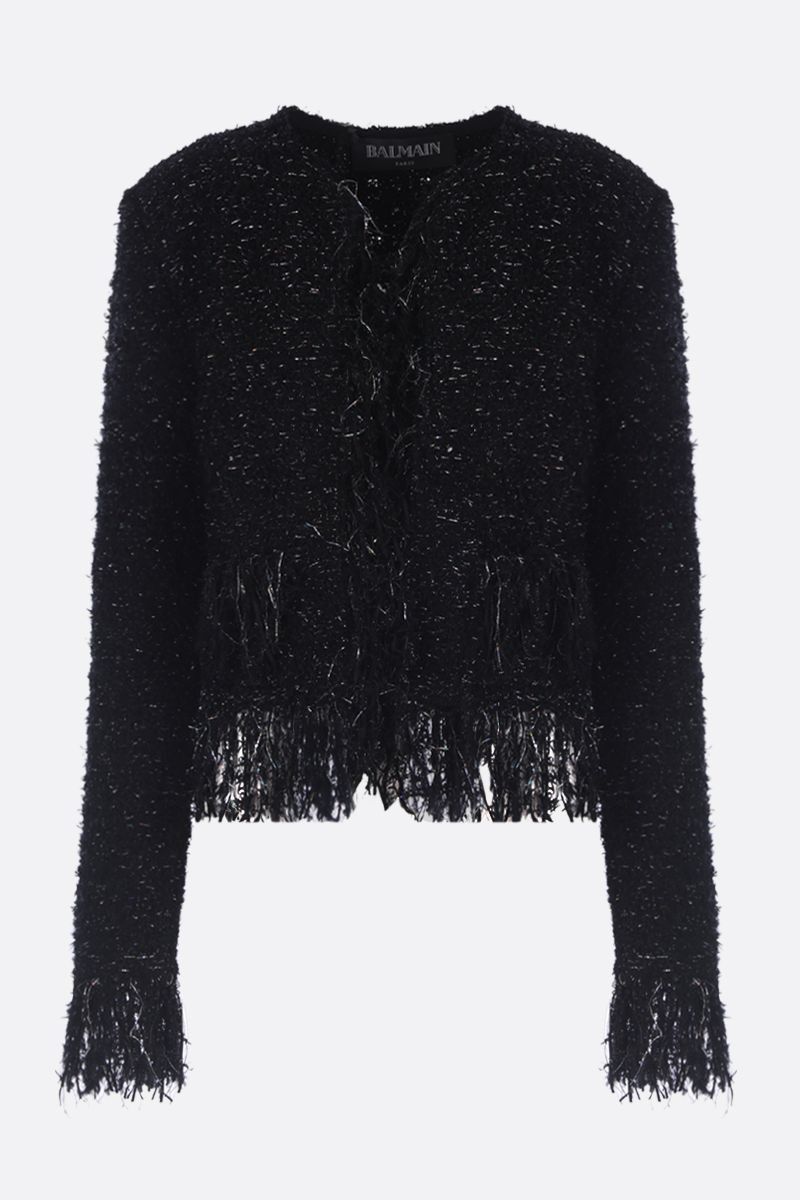 BALMAIN: fringed blazer in tweed and lurex Color Black_1