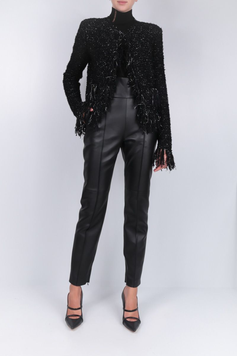 BALMAIN: fringed blazer in tweed and lurex Color Black_2