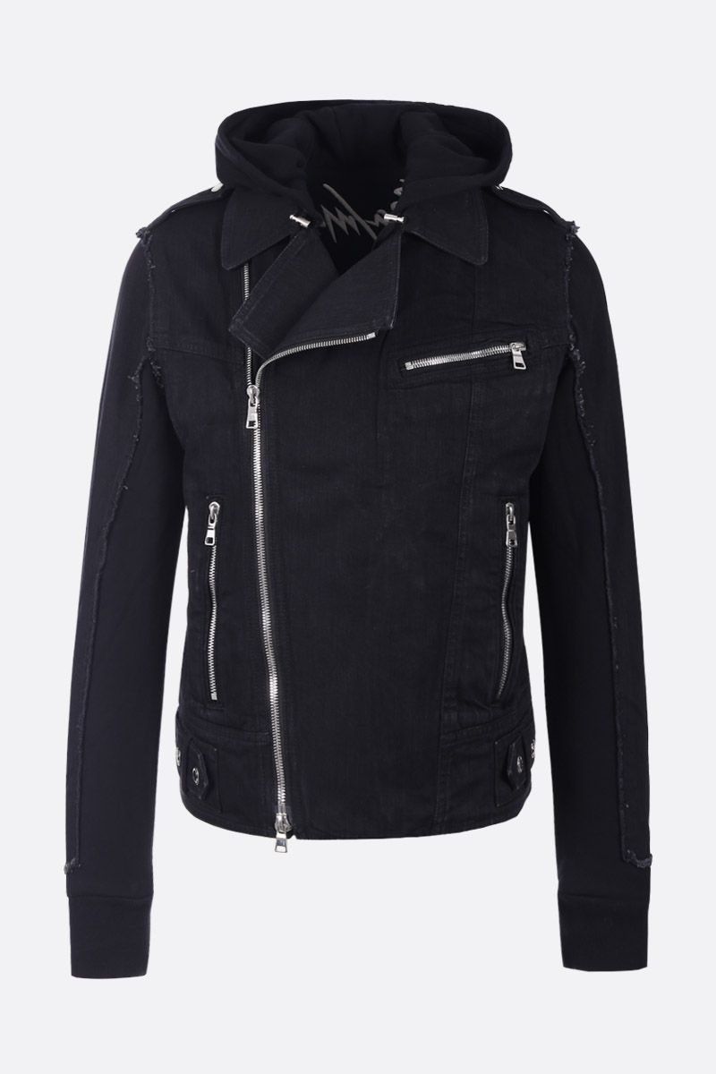 BALMAIN: logo embroidered denim biker jacket with jersey inserts Color Black_1