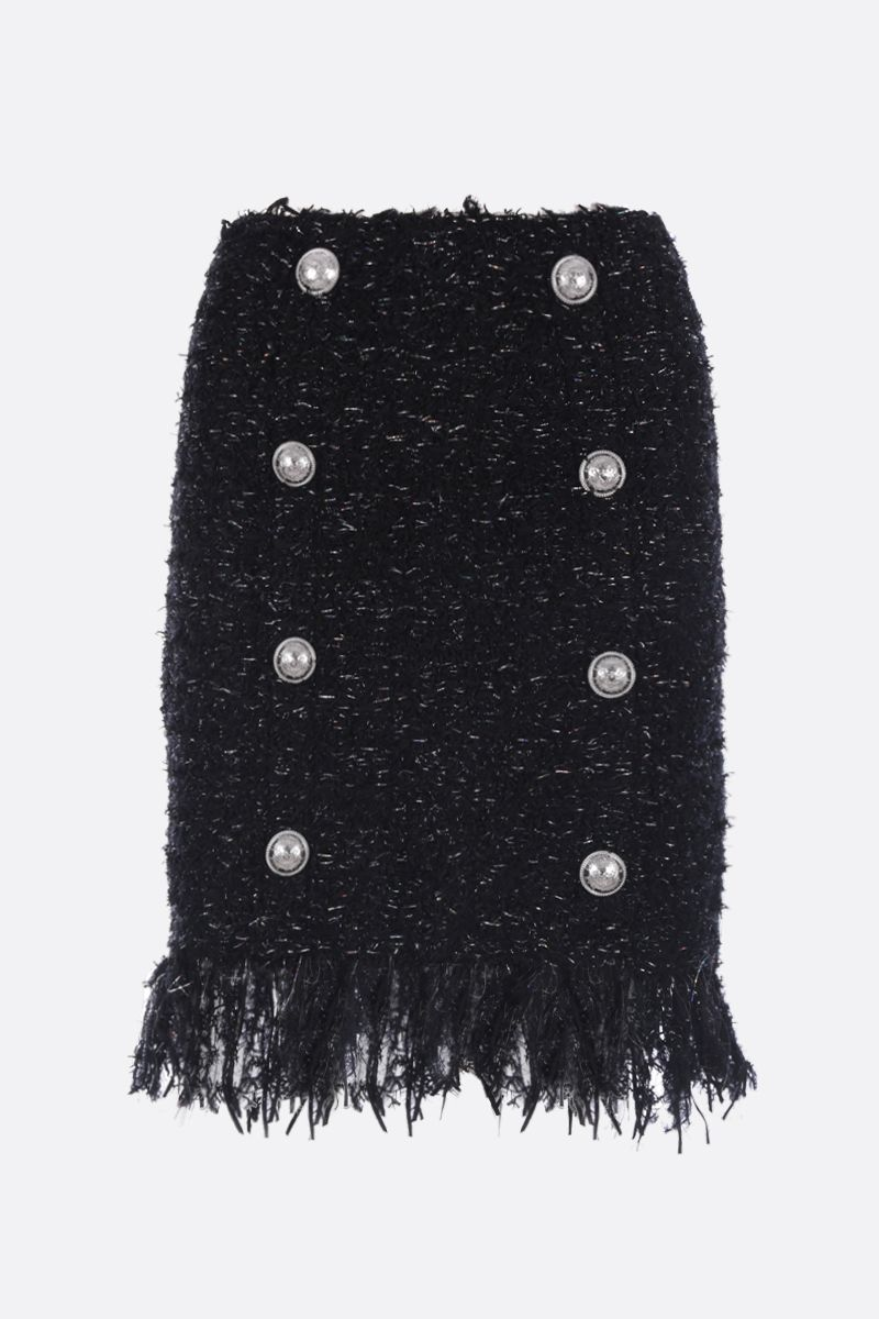 BALMAIN: tweed and lurex skirt with decorative buttons Color Black_1