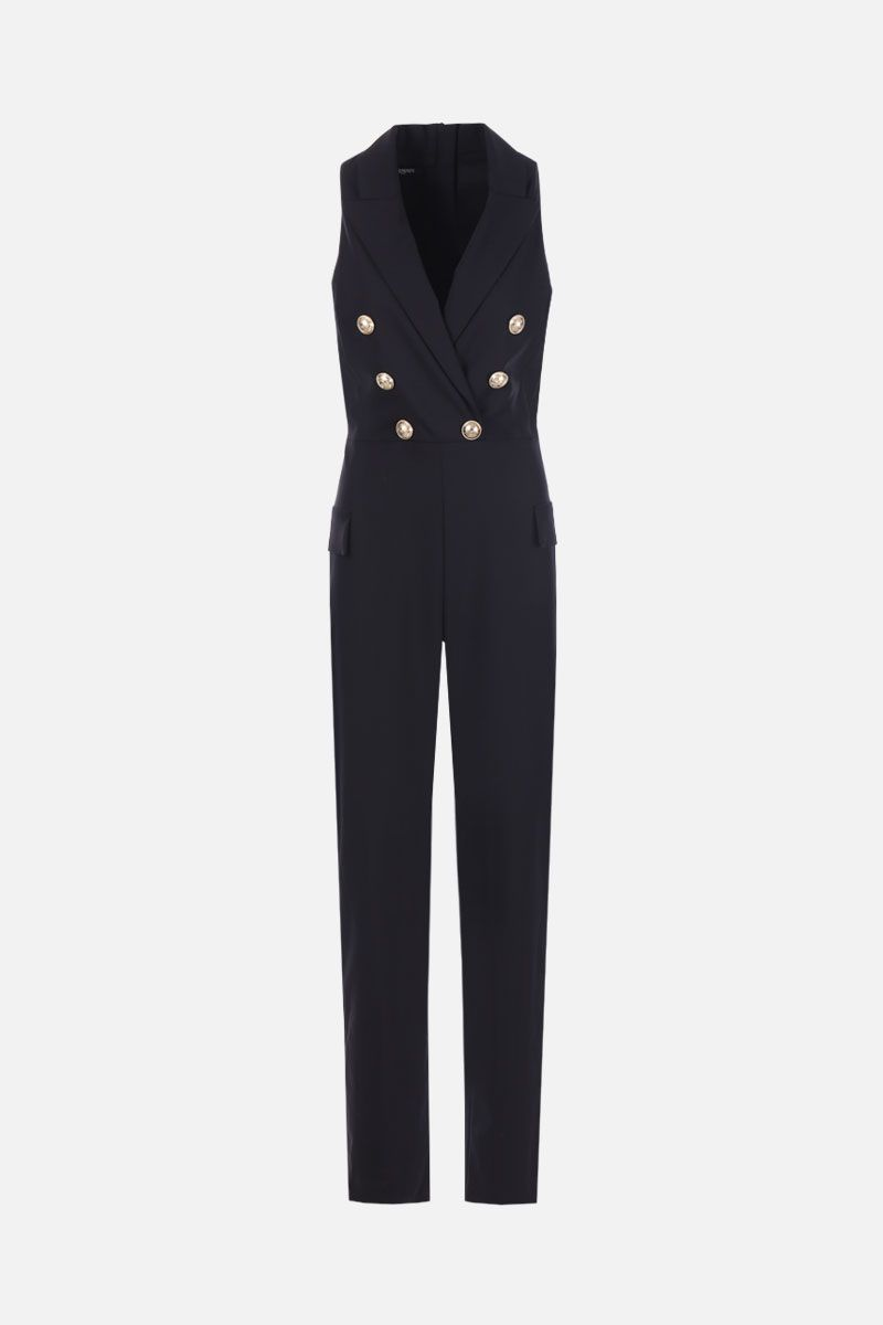BALMAIN: double-breasted jumpsuit in wool blend Color Black_1