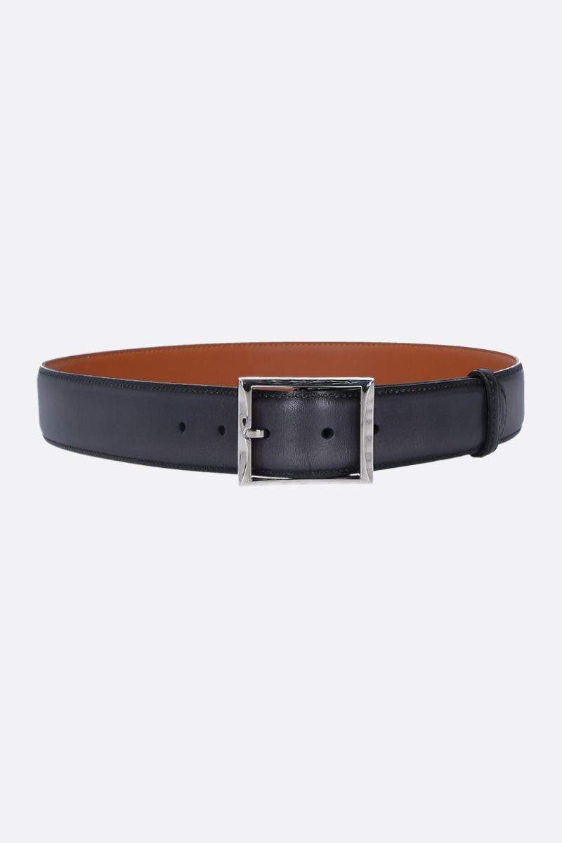 BERLUTI: Classic belt in smooth leather Color Black_1