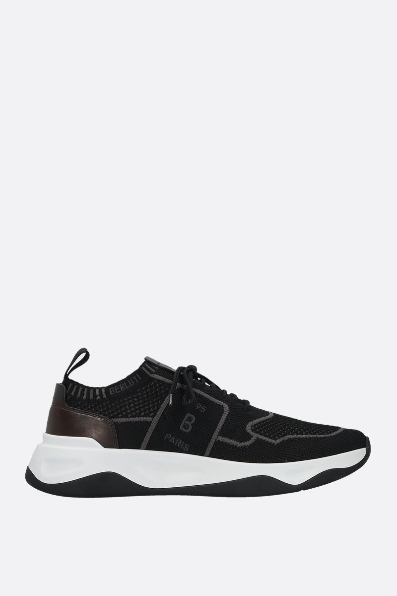 BERLUTI: stretch knit and leather low-top sneakers Color Black_1