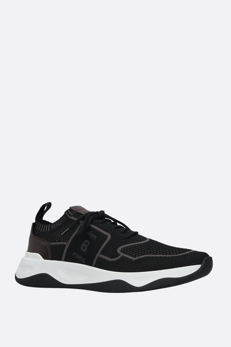 BERLUTI: stretch knit and leather low-top sneakers Color Black_2