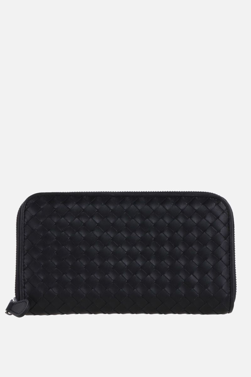 BOTTEGA VENETA: zip-around wallet in Intrecciato nappa Color Black_1