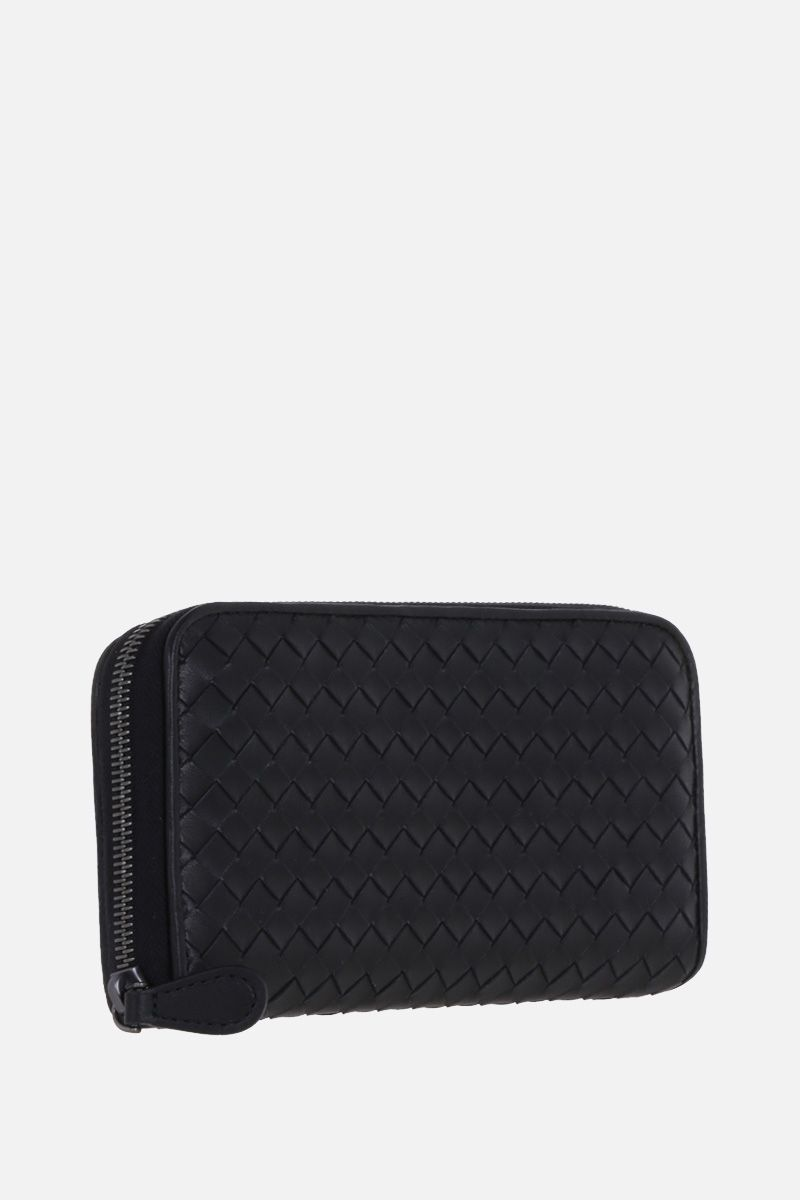 BOTTEGA VENETA: zip-around wallet in Intrecciato nappa Color Black_3