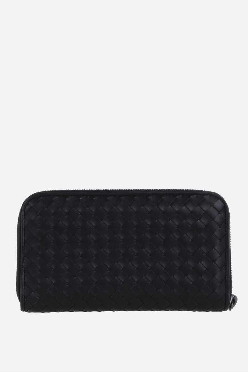 BOTTEGA VENETA: zip-around wallet in Intrecciato nappa Color Black_4