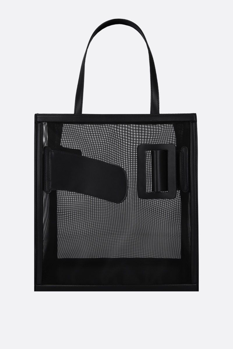BOYY: mesh and shiny leather tote Color Black_1