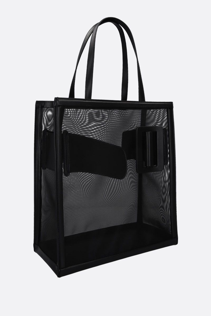 BOYY: mesh and shiny leather tote Color Black_2