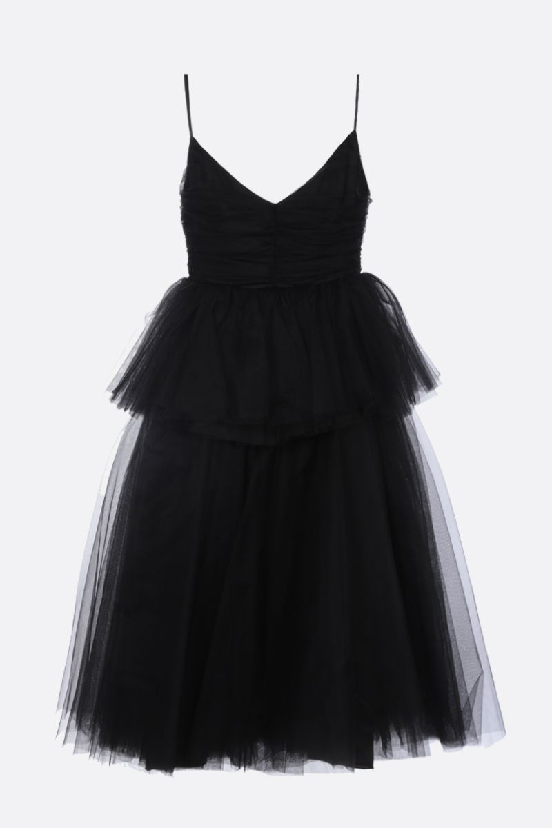 BROGNANO: multi-layered tulle midi dress Color Black_1