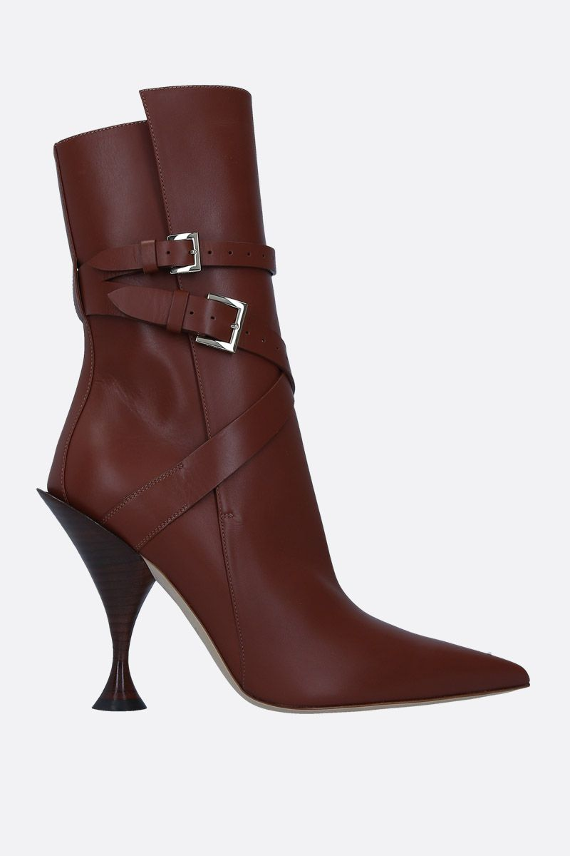 BURBERRY: Hadfield booties in smooth leather Color Brown_1