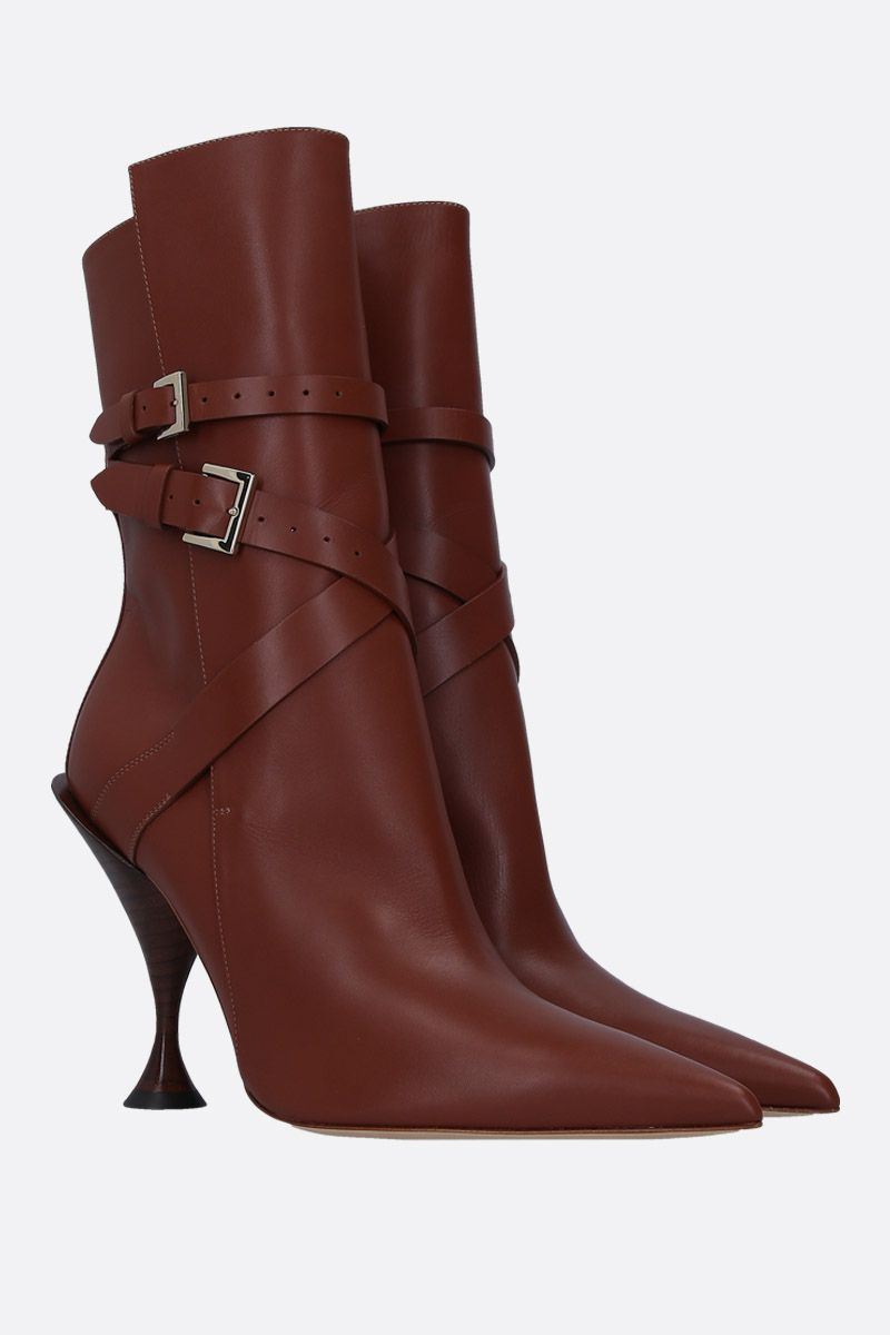 BURBERRY: Hadfield booties in smooth leather Color Brown_2