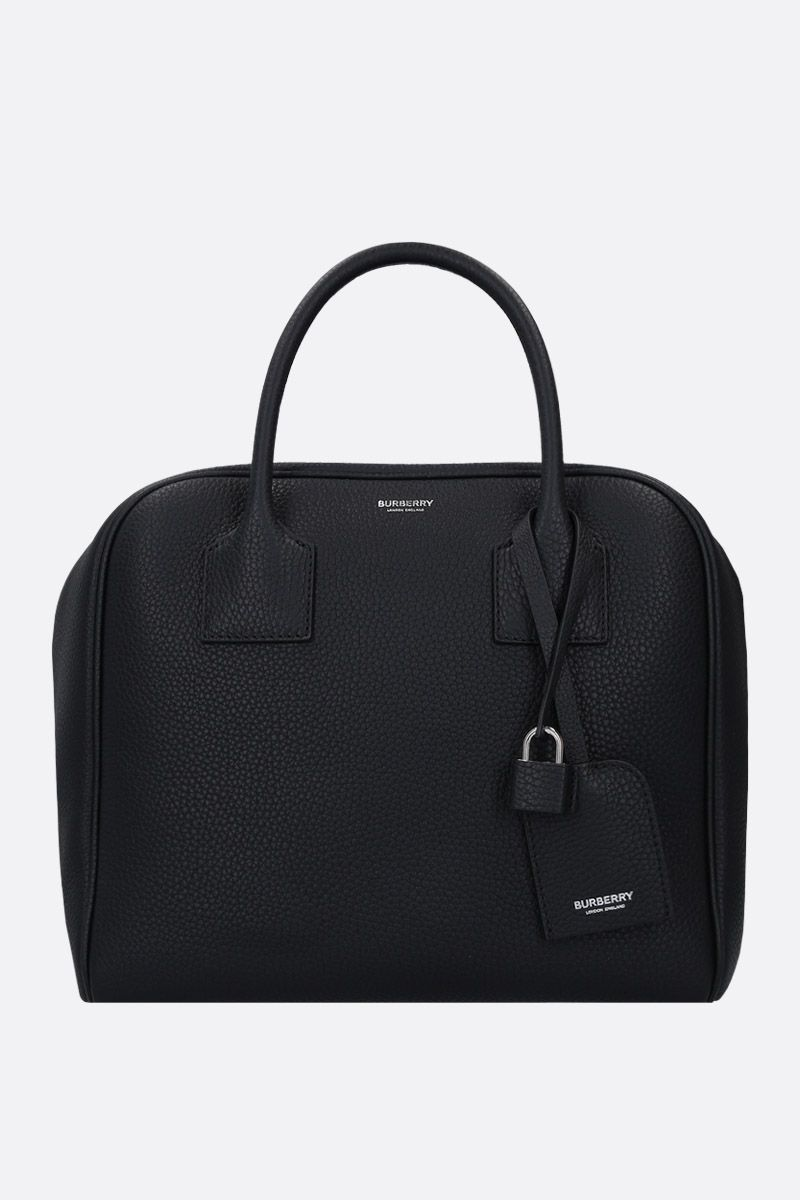 BURBERRY: borsa a mano Cube media in pelle martellata Colore Nero_1
