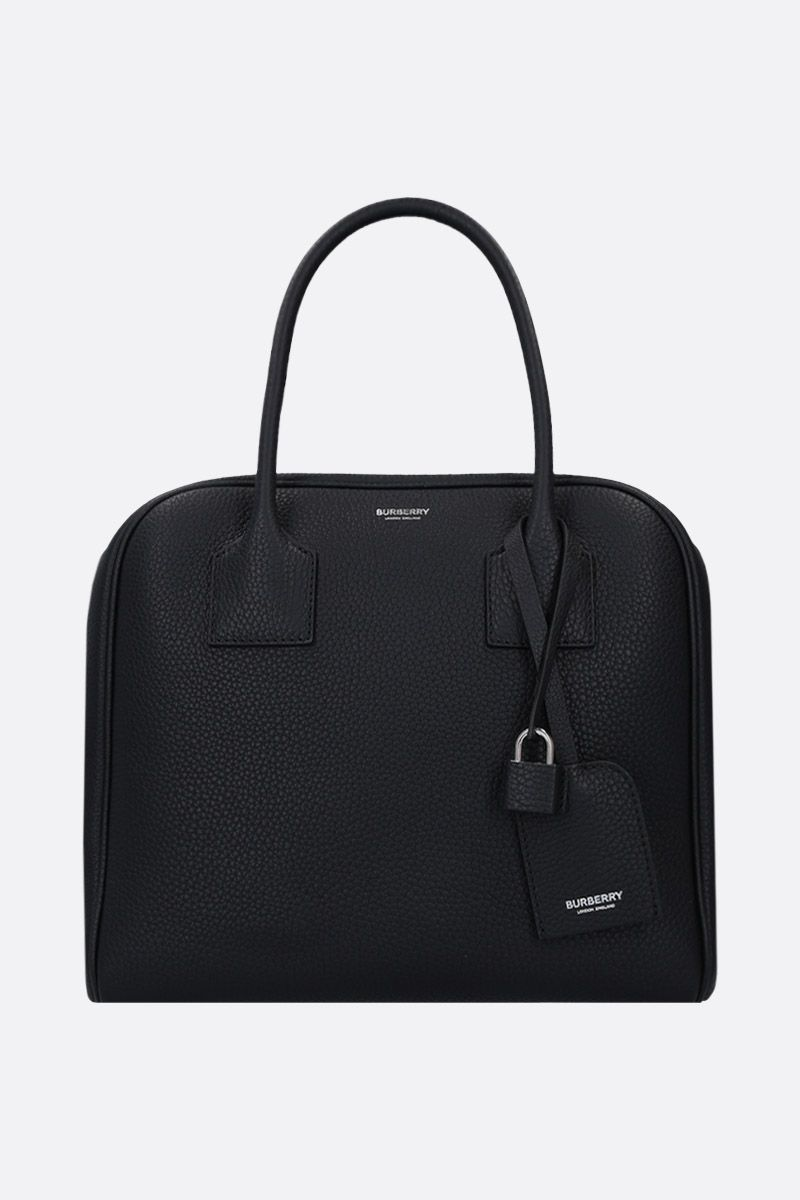 BURBERRY: Cube small handbag in grainy leather Color Black_1