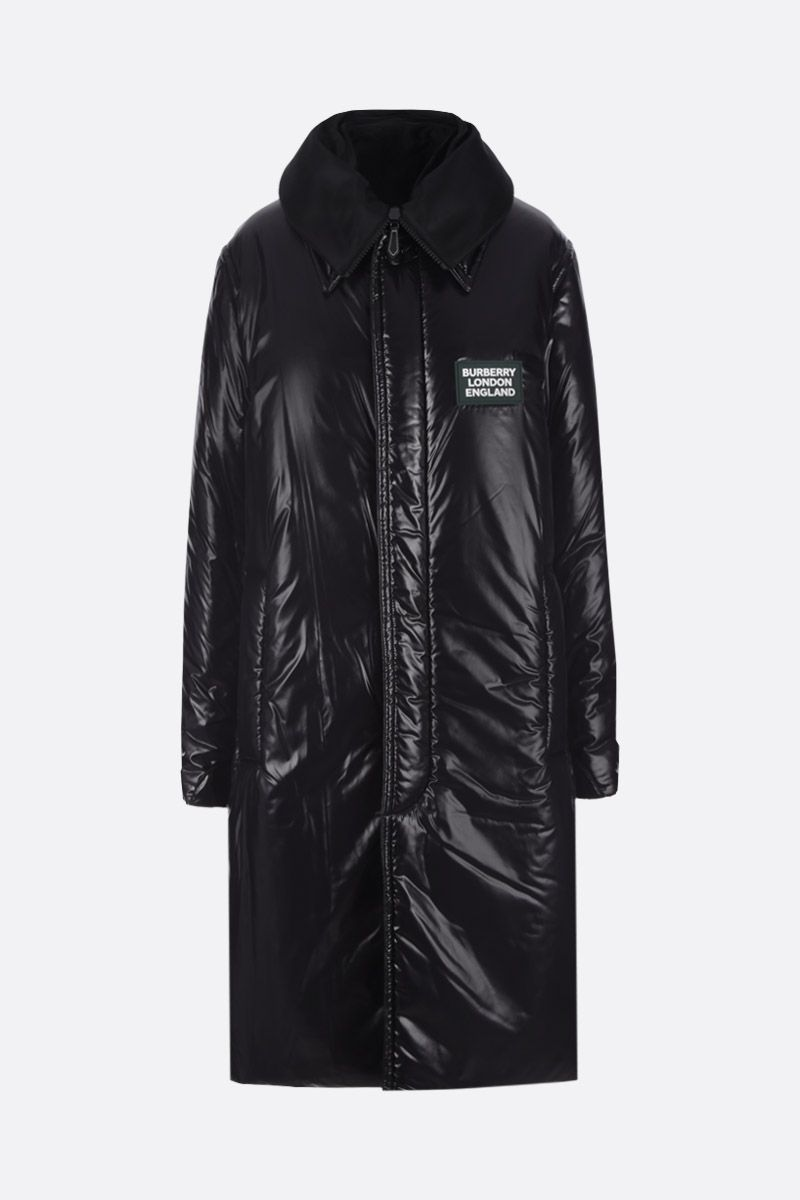 BURBERRY: padded car coat in shiny nylon Color Black_1