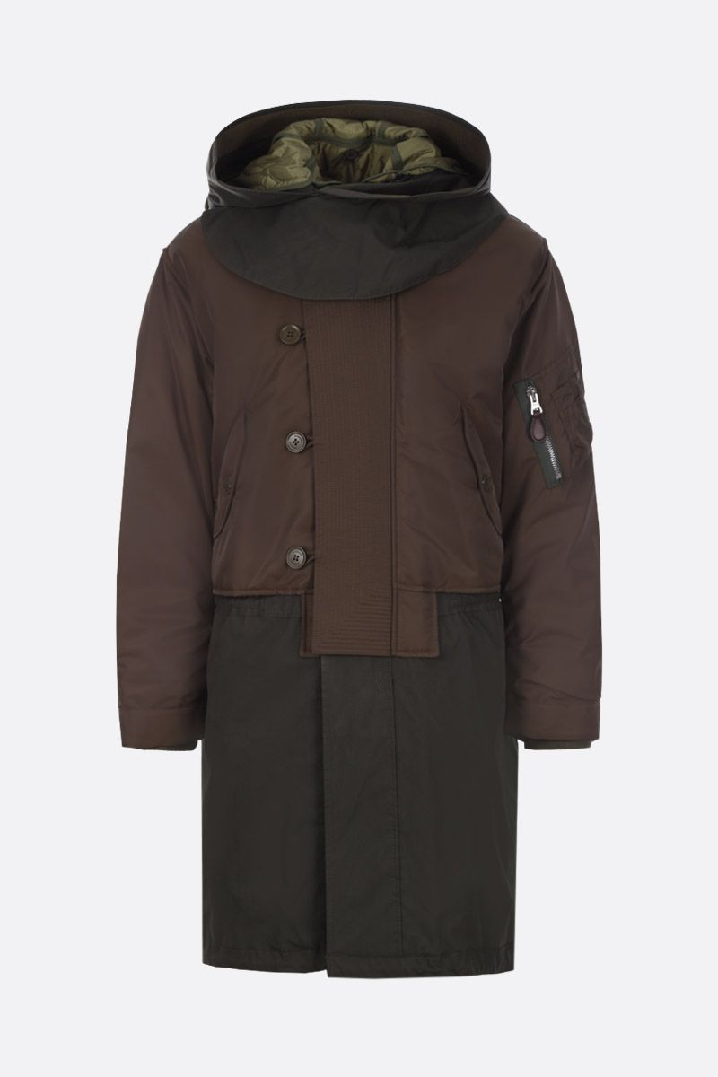 BURBERRY: Barkby cotton blend parka with nylon inserts Color Green_1