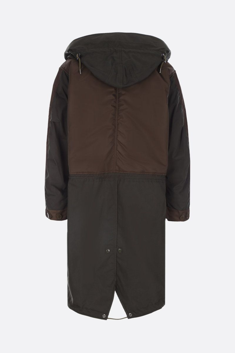 BURBERRY: Barkby cotton blend parka with nylon inserts Color Green_2
