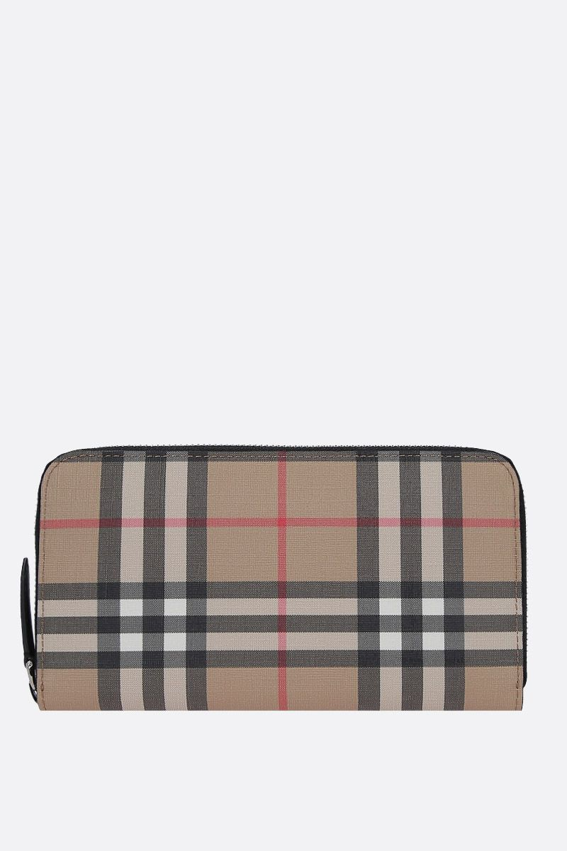 BURBERRY: Vintage check coated canvas zip-around wallet_1