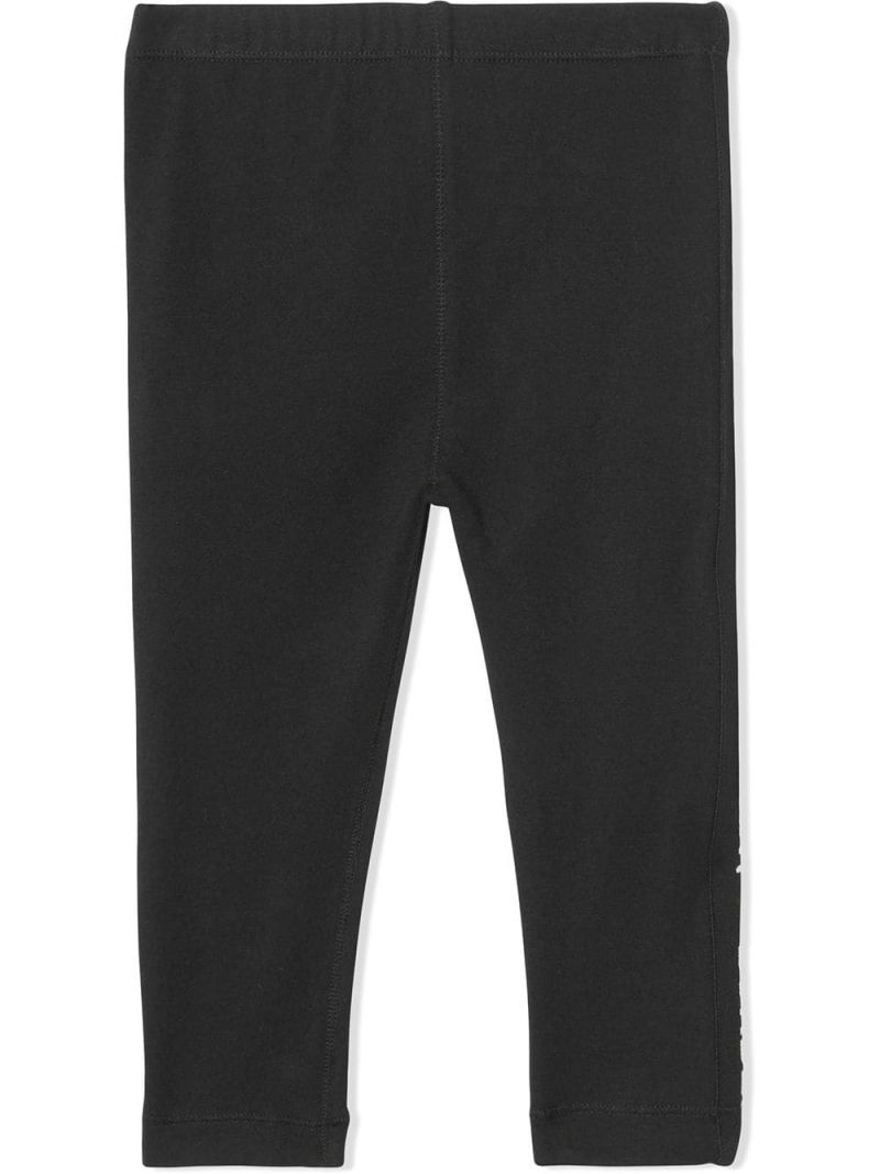 BURBERRY CHILDREN: stretch jersey leggings with logoed tapes Color Black_1