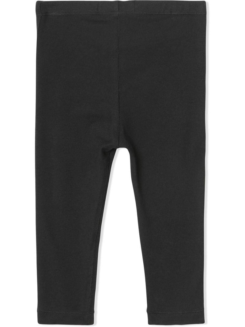 BURBERRY CHILDREN: stretch jersey leggings with logoed tapes Color Black_2