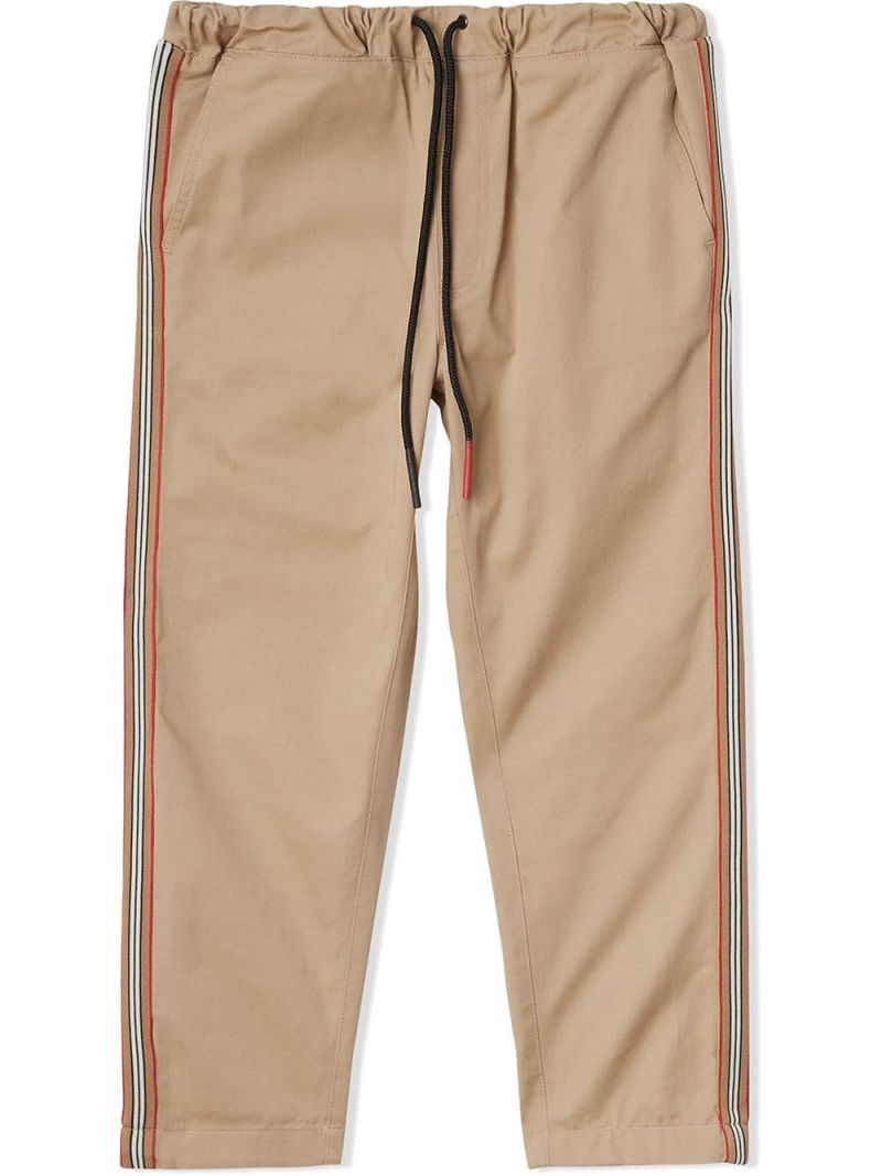 BURBERRY CHILDREN: cotton twill chino pants with Icon Stripe details Color Yellow_1