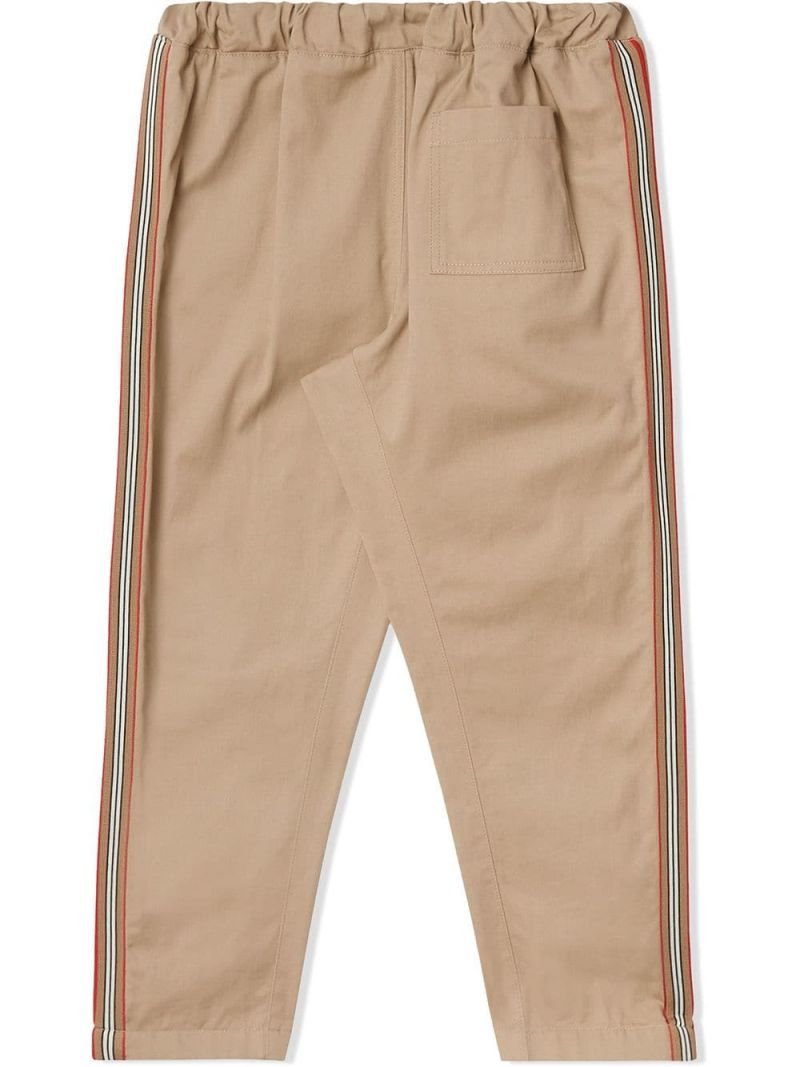 BURBERRY CHILDREN: cotton twill chino pants with Icon Stripe details Color Yellow_2