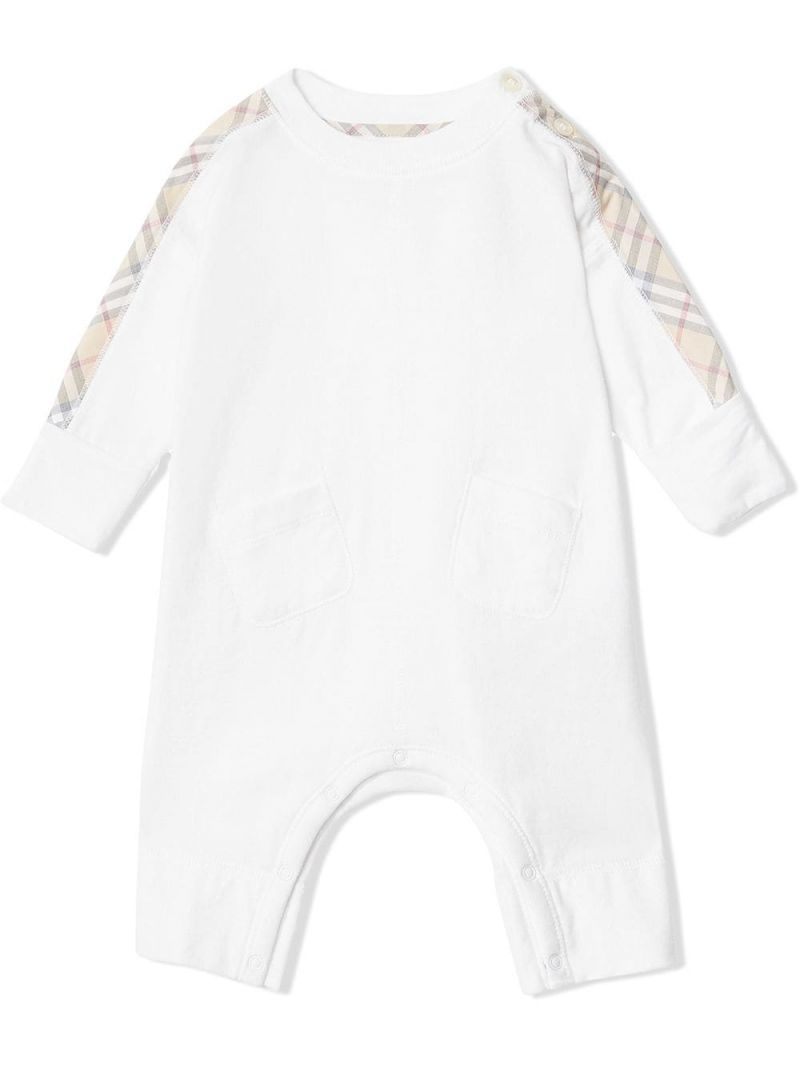 BURBERRY CHILDREN: check cotton three-piece baby gift set Color White_1