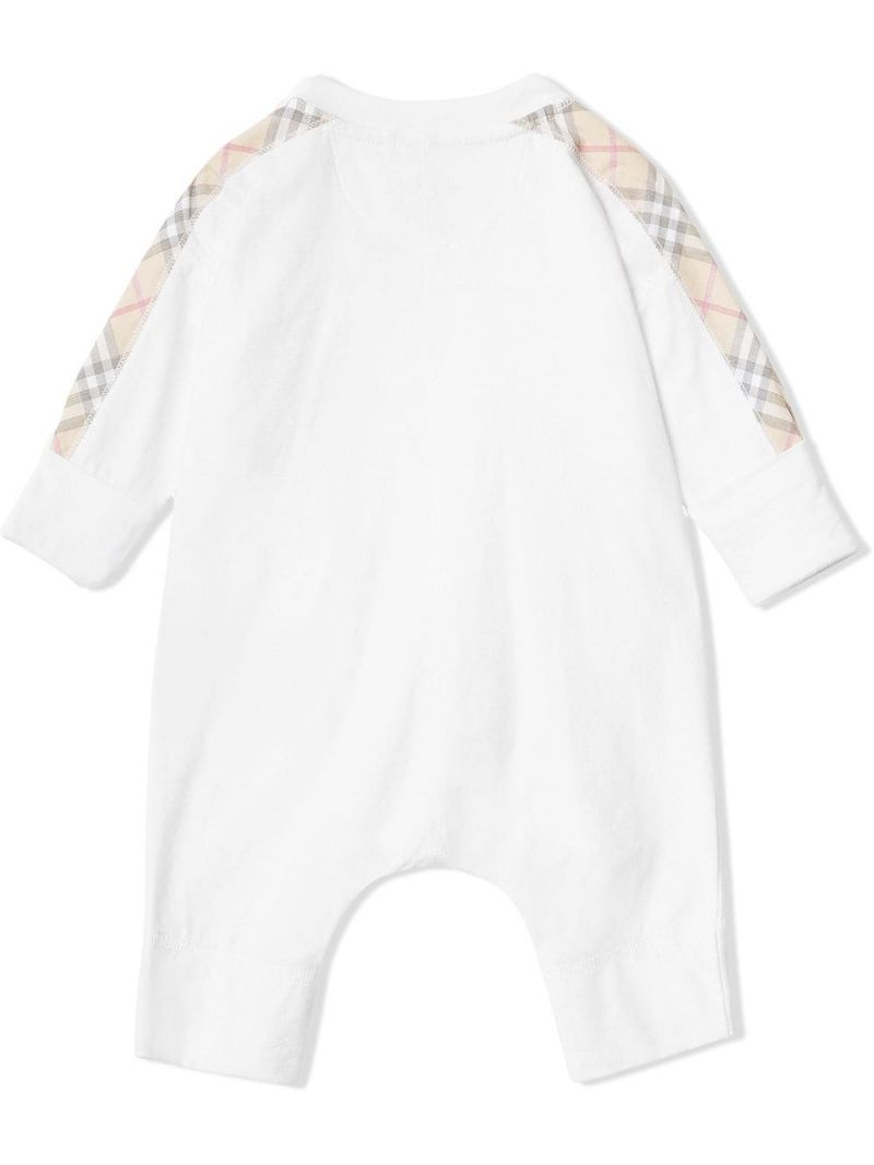 BURBERRY CHILDREN: check cotton three-piece baby gift set Color White_2