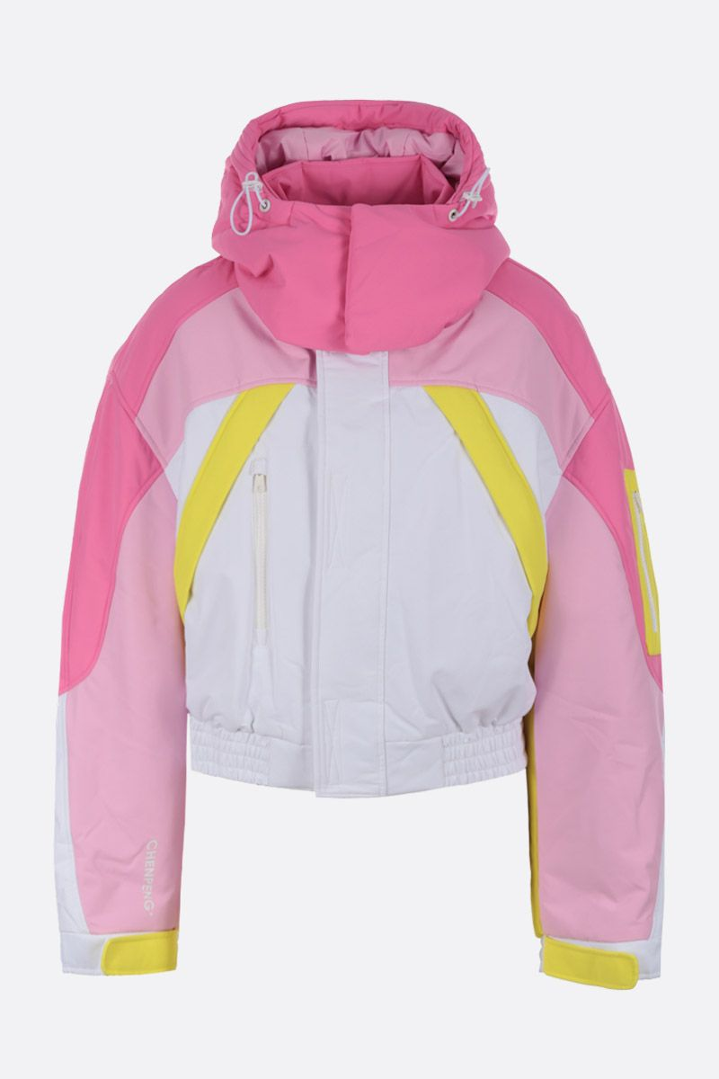 CHEN PENG: oversized short down jacket in technical fabric Color Pink_1