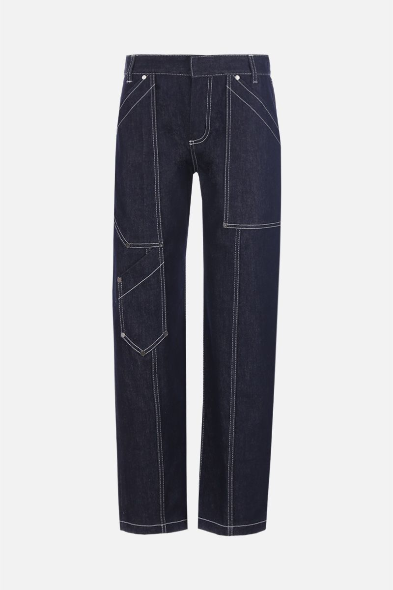 CHLOÈ: cargo jeans with contrasting stitching Color Blue_1