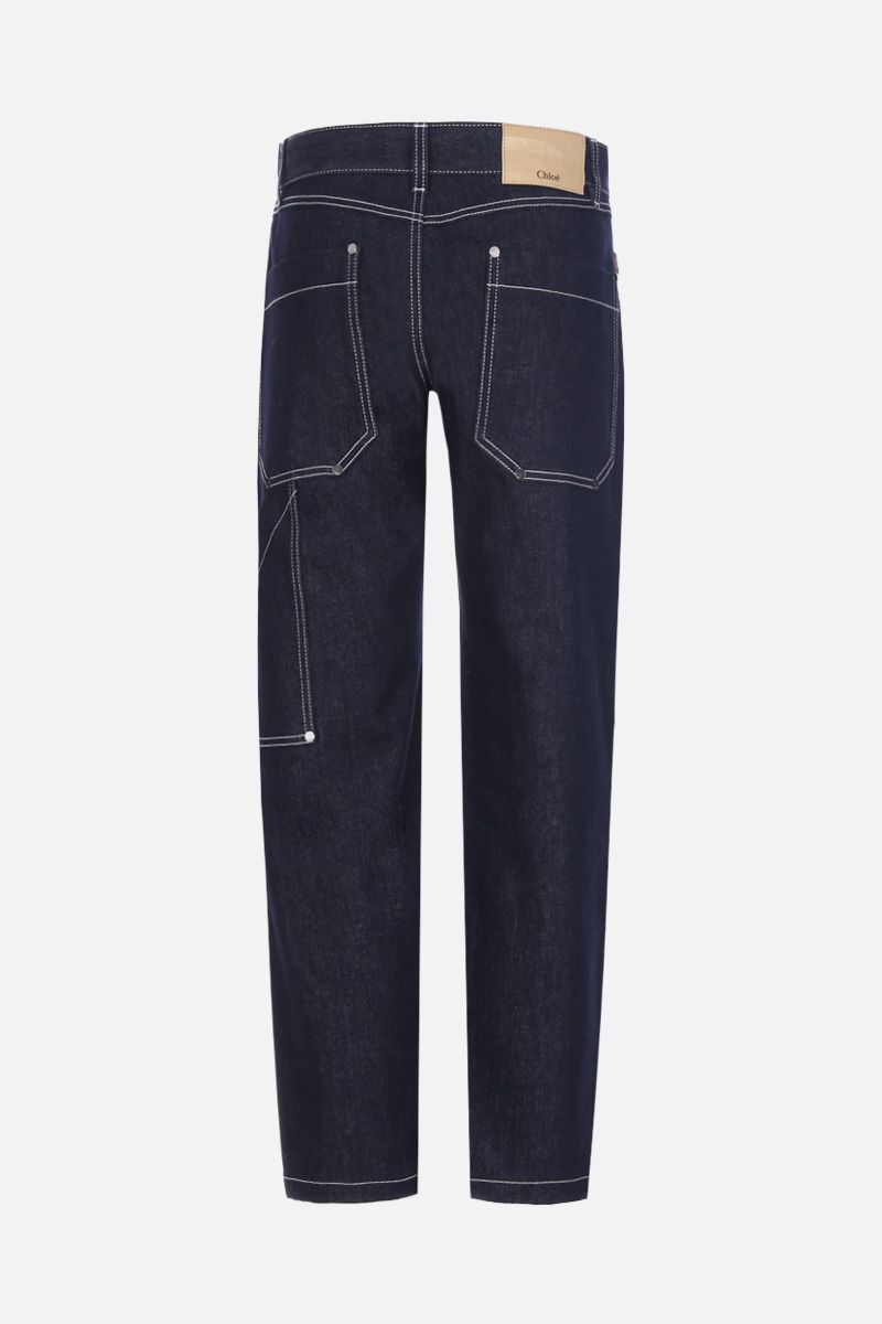 CHLOÈ: cargo jeans with contrasting stitching Color Blue_2