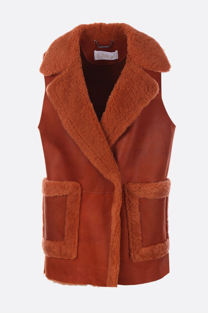 CHLOÈ: soft shearling waistcoat Color Red_1