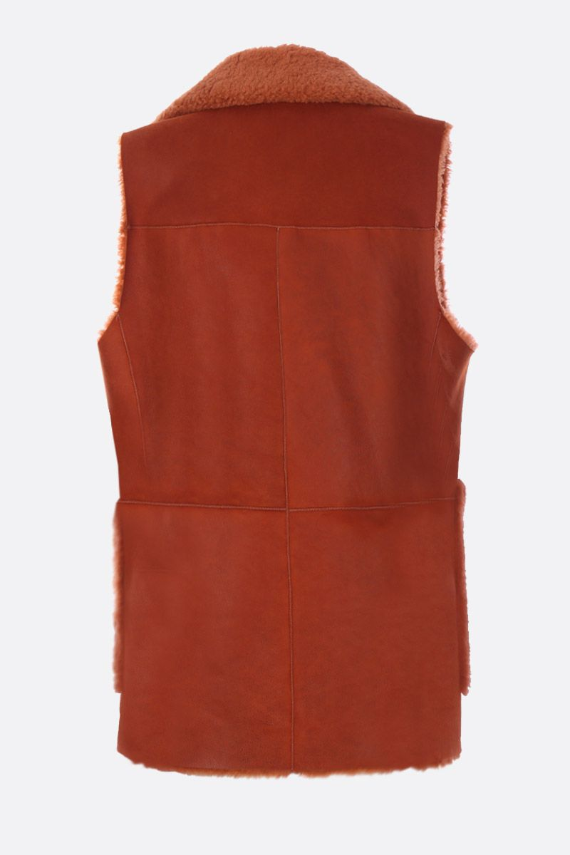 CHLOÈ: soft shearling waistcoat Color Red_2