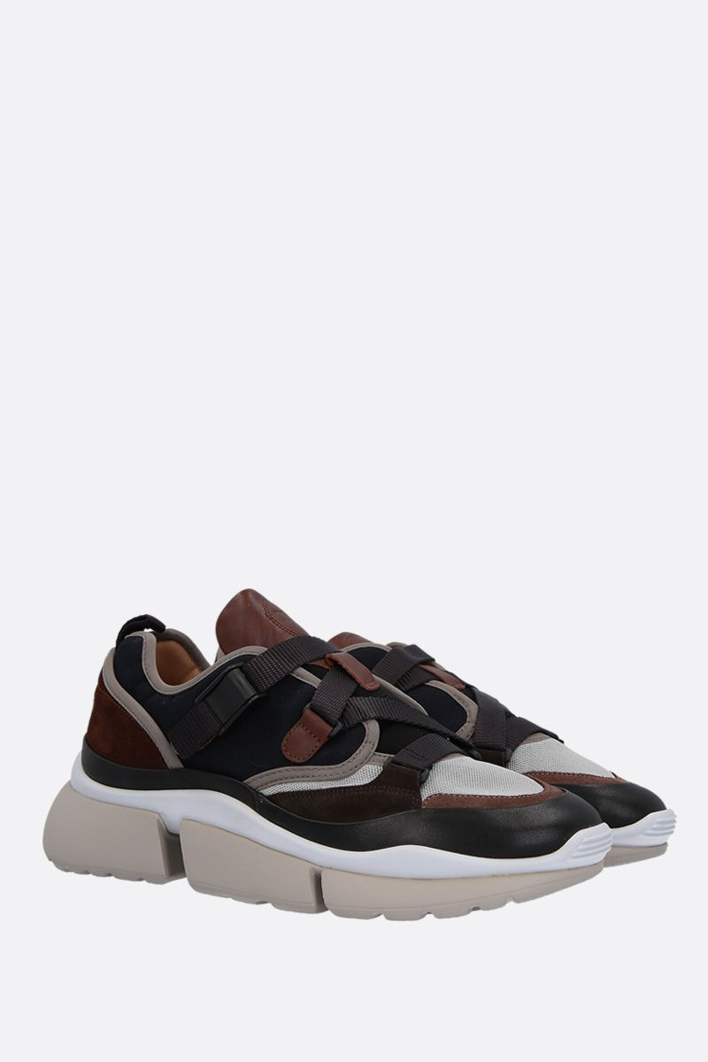CHLOÈ: Sonnie low-top sneakers in leather and fabric Color Blue_2