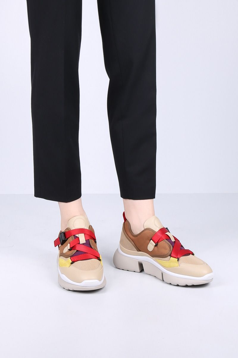 CHLOÈ: sneaker low-top Sonnie in pelle, suede e canvas Colore Rosso_2
