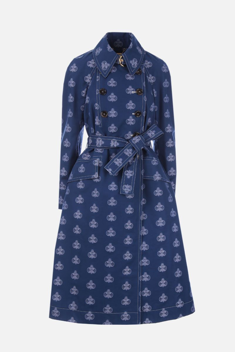 CHLOÈ: cotton double-breasted trench coat with C monogram jacquard Color Blue_1