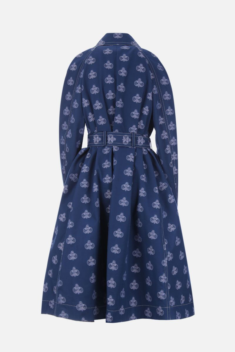 CHLOÈ: cotton double-breasted trench coat with C monogram jacquard Color Blue_2