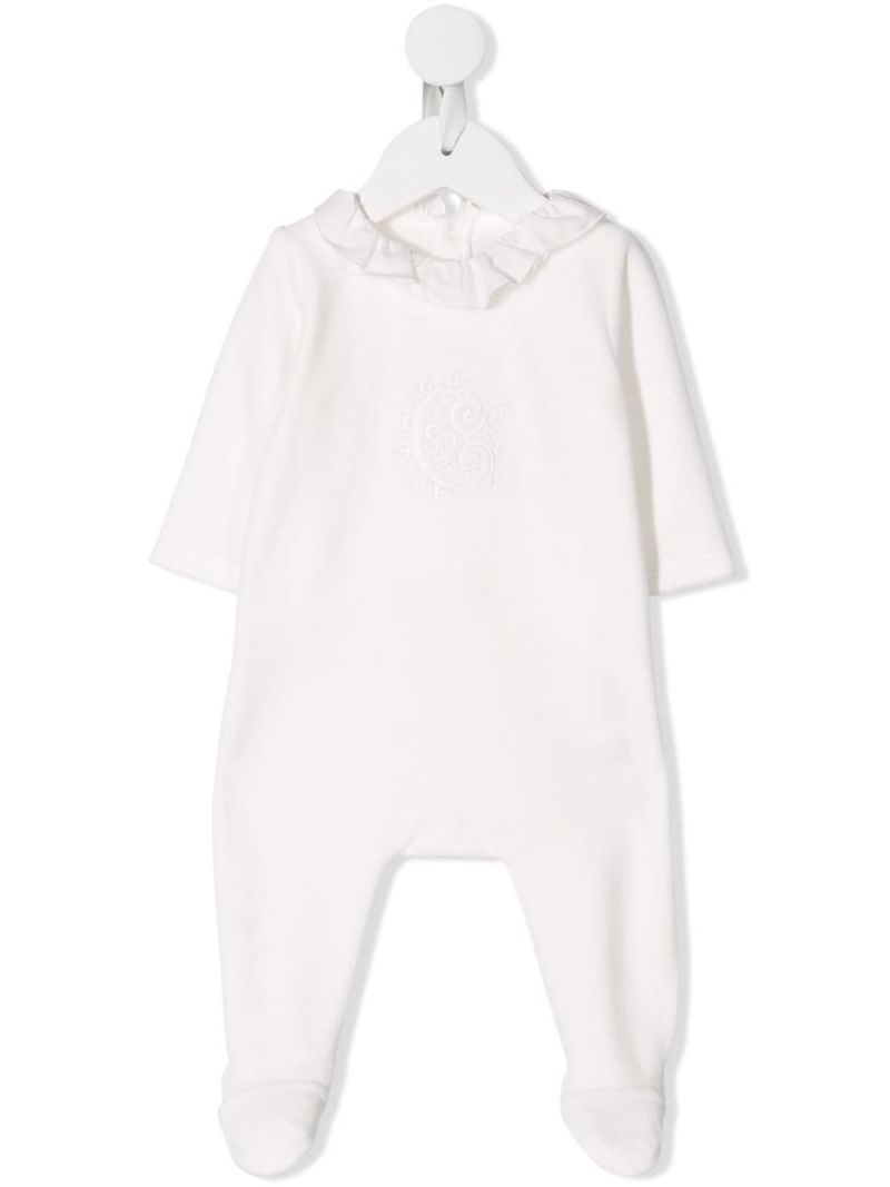 CHLOÈ KIDS: logo embroidery cotton blend romper Color White_1