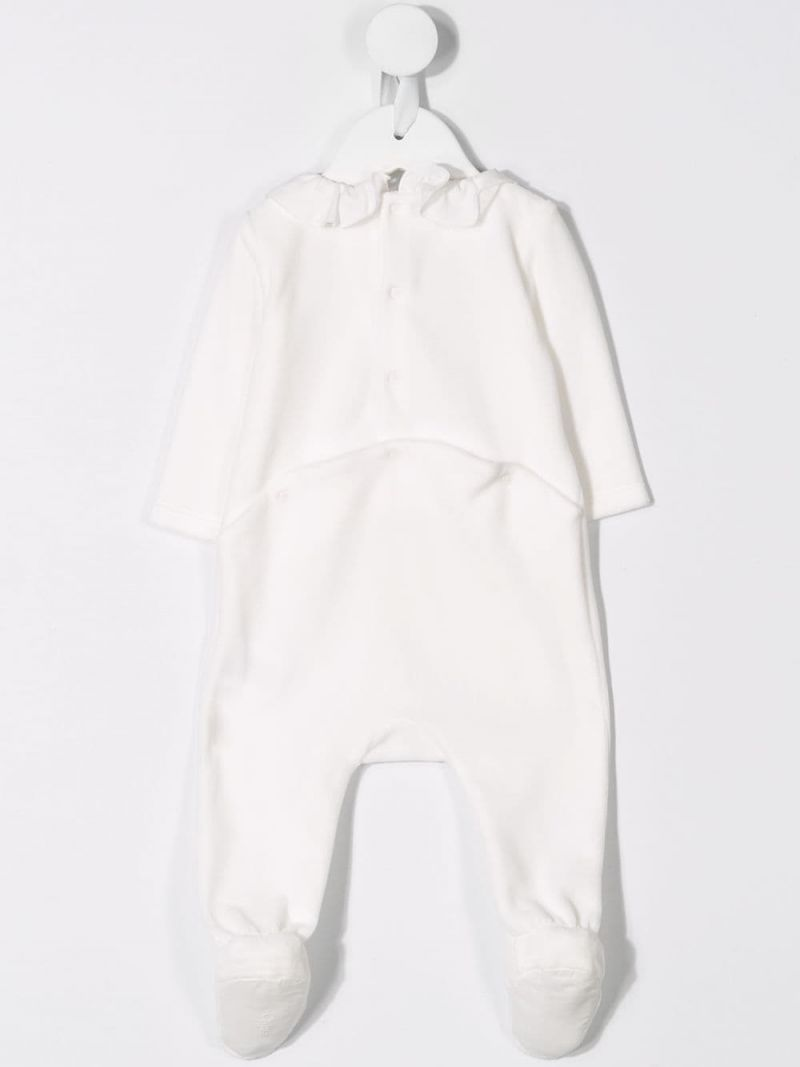 CHLOÈ KIDS: logo embroidery cotton blend romper Color White_2