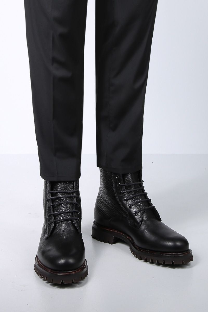 CHURCH'S: Coalport combat boots in grainy leather Color Black_2