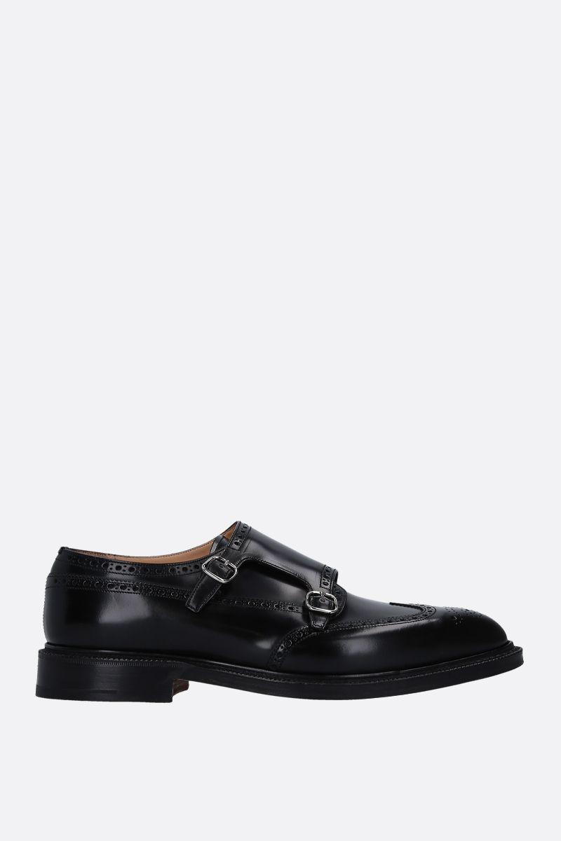 CHURCH'S: Monkton monk strap shoes in brushed calf Color Black_1