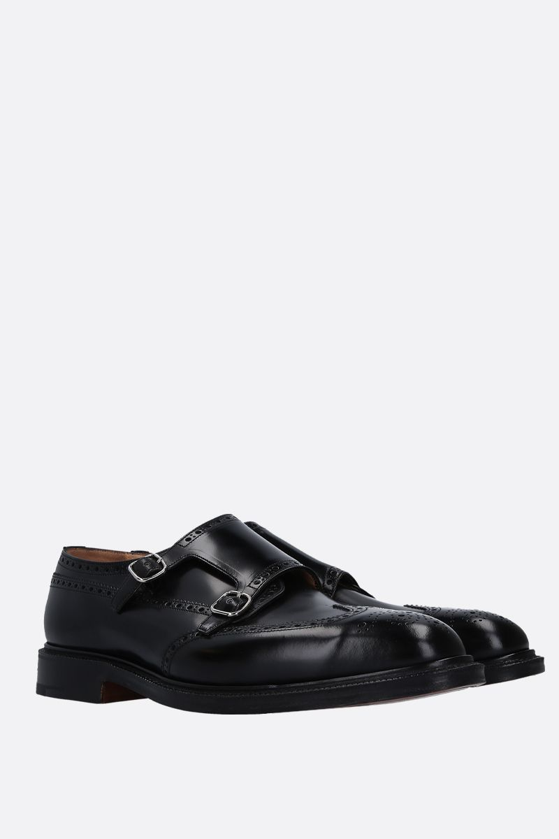 CHURCH'S: Monkton monk strap shoes in brushed calf Color Black_2