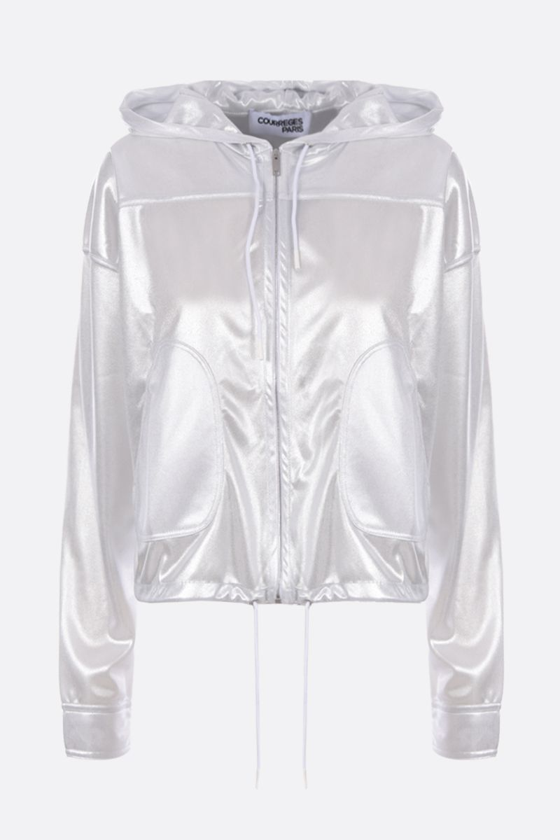 COURREGES: metallised jersey hoodie with quilted logo Color Silver_1