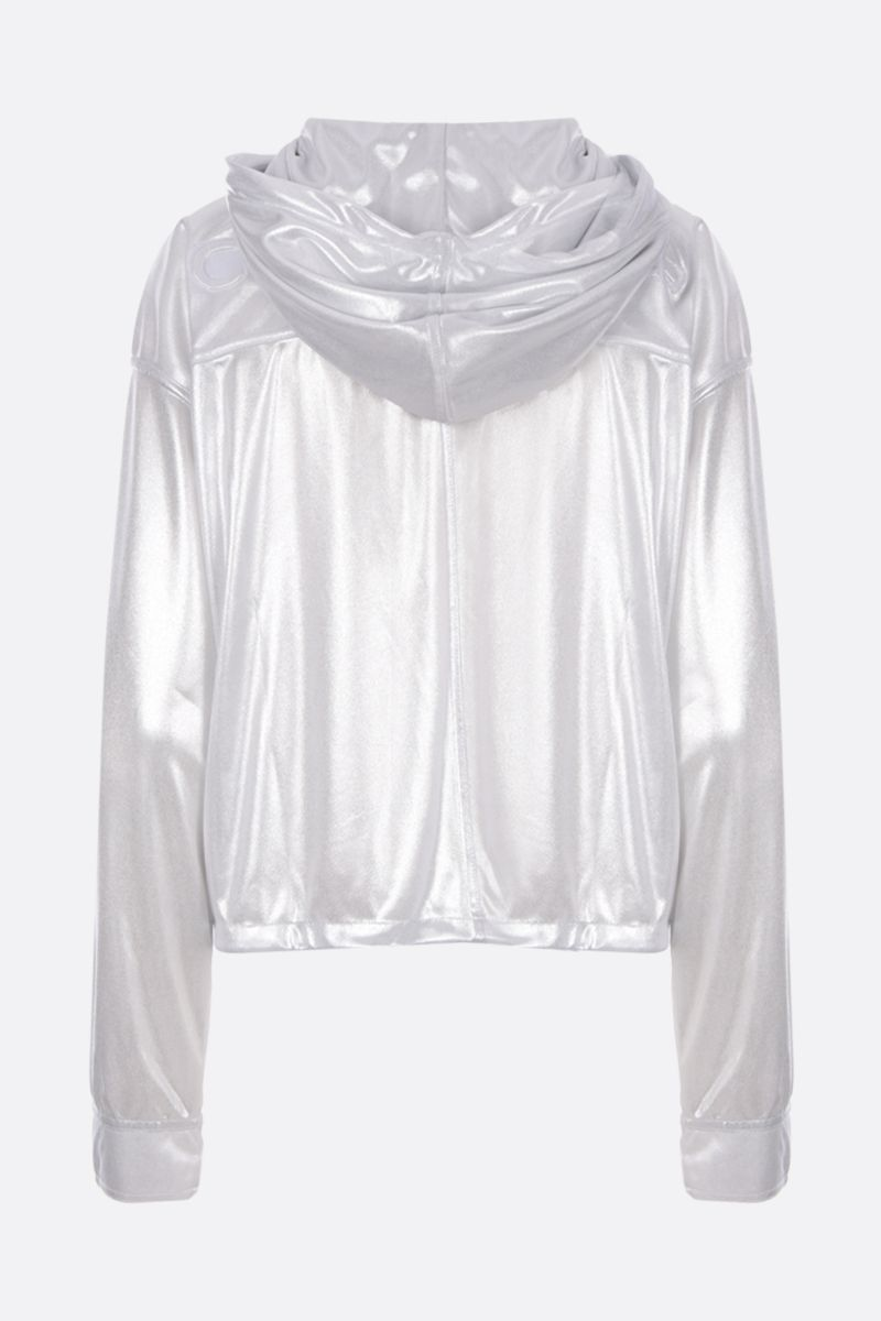 COURREGES: metallised jersey hoodie with quilted logo Color Silver_2