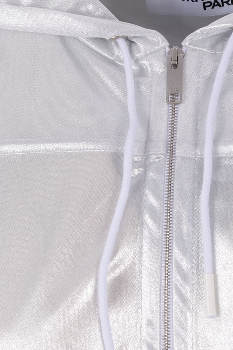 COURREGES: metallised jersey hoodie with quilted logo Color Silver_3