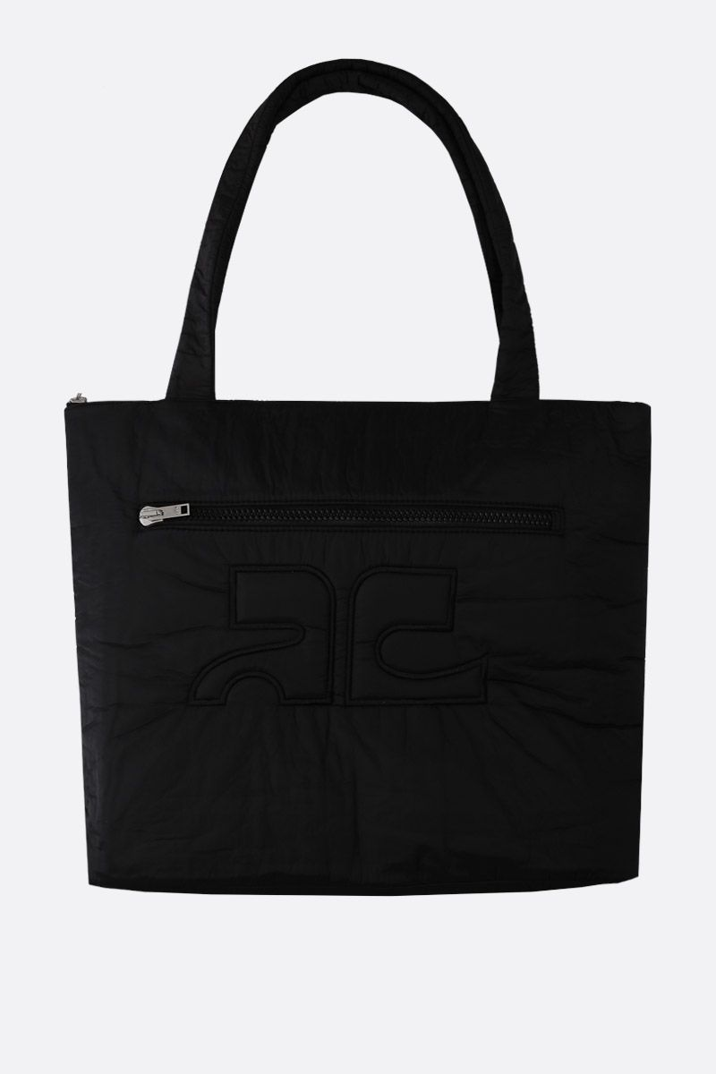 COURREGES: padded nylon shoping bag Color Black_1