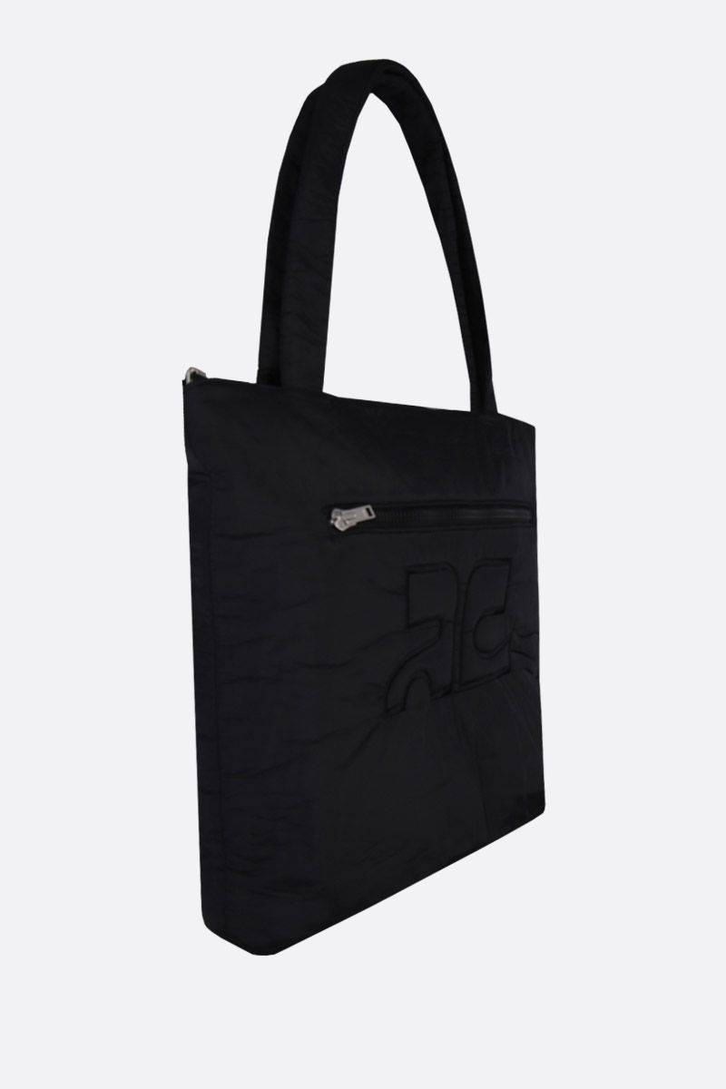 COURREGES: padded nylon shoping bag Color Black_2