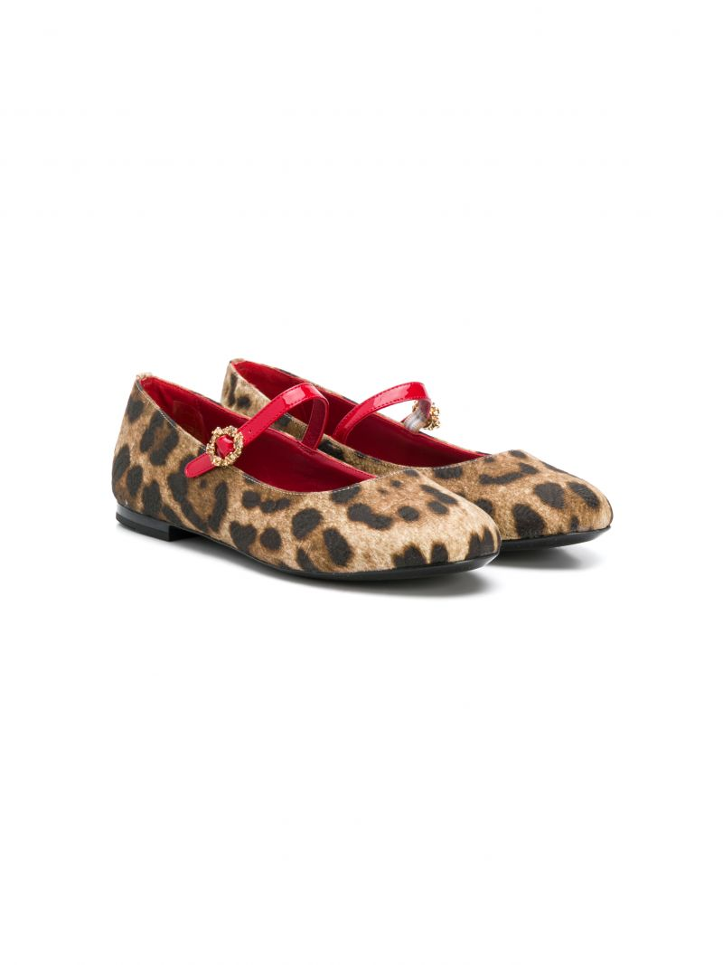 DOLCE & GABBANA CHILDREN: leopard canvas ballerinas_1