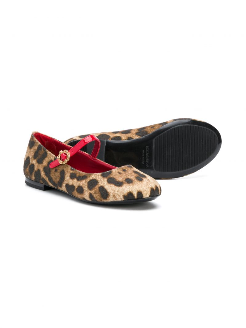 DOLCE & GABBANA CHILDREN: leopard canvas ballerinas_2